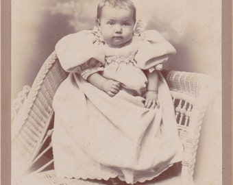 Hidden Mother- 1800s Antique Photograph- Victorian Baby Portrait- Oconomowoc, Wisconsin- Munger Cabinet Photo- Paper Ephemera