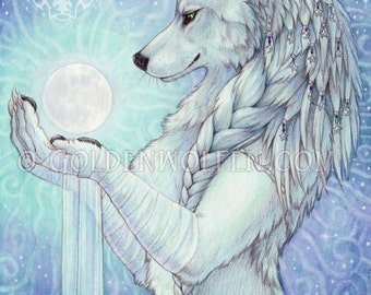 White Wolf with Cosmic Full Moon Print