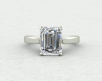 NEW 9x7mm Emerald Step Cut Forever One Moissanite Classic Solitaire with beautiful basket detail Engagement Ring LCDS034