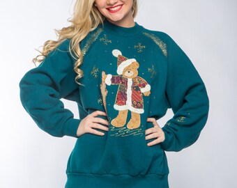 Vintage Christmas Sweatshirt Gold Glitter Teddy Bear Santa Ugly Christmas Shirt | XL Made in USA 80s 90s 50/50 Cotton Poly Winter Fleece C1