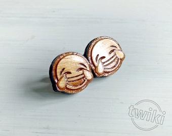 CLEARANCE SALE 25% - Laughing emoji wood earring studs. -- laughing emoji earrings, laughing emoji earring studs, laughing emoji studs