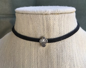 Cross on Black Leather Choker Necklace