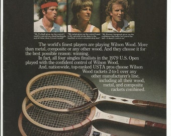 1980 Advertisement Wilson Tennis Rackets Sports John McEnroe Chris Evert Vitas Gerulaitis US Open Wall Art Decor