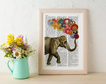 Summer Sale Elephant with Flowers gift for her wall art decor Unique Love print Elephant wall hanging Printed on dictionary ANI091
