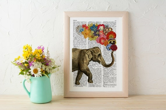 Christmas Sale Elephant with Flowers gift for her wall art decor Unique Love print Elephant wall hanging Printed on dictionary ANI091
