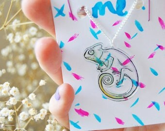 """Blend with me Chameleon - 18"""" Silver  / Acrylic Necklace."""