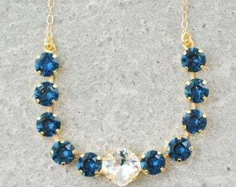 Navy Blue Diamond Necklace Navy Bridesmaids Necklaces Swarovski Crystal Navy Blue Clear Crystal Diamond Tennis Bar Necklace Nautical Wedding