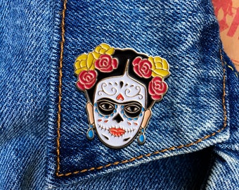 Frida Day of the Dead, Frida Kahlo Pin, Soft Enamel Pin, Jewelry, Art, Artist, Gift (PIN92)