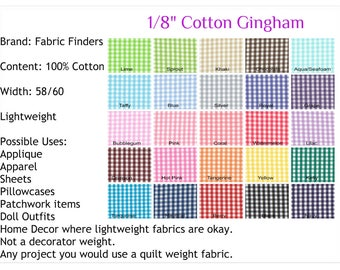 """1/8"""" Gingham Fabric Fabric Finders 100% Cotton 60"""" WIDE  Black, Sprout Royal Blue Red Brown Pink Green Lime Yellow FQ Half Yard Quarter Yard"""