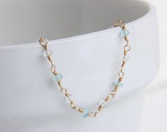 White topaz and light green chalcedony bracelet, 14k gold filled jewelry, wire wrapped gemstone bracelet