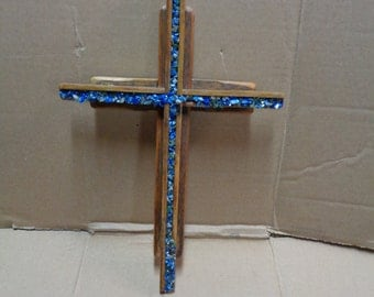 Reclaimed Barn wood layered double Wooden Cross with Lapis Lazuli gemstone