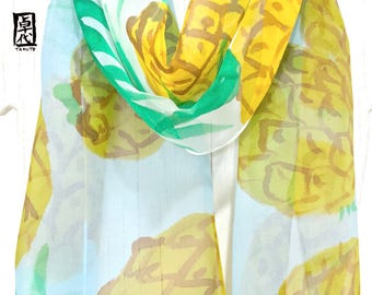 Silk Summer Scarf, Pineapple Print, Silk Scarf Handpainted, Silk Chiffon, Yellow and Blue, Summer Pineapple Scarf, Takuyo, 11x60 inch