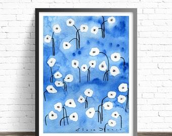Blue watercolor print. Flower prints wall art. Watercolor painting. Floral wall art. Flower painting. Watercolor floral print. Floral poster