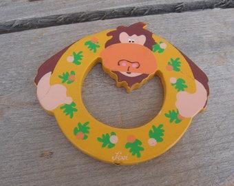 "Vintage Levi Letter ""O"", Painted Wooden Animal Letter, Monkey Nursery Letter, Letter O Last One"