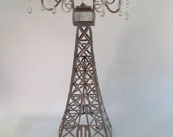 Eiffel Tower Candle Holder, Vintage Tall Pillar Lighting Paris French Theme Entertaining Decor Romantic Light Retirement Wedding Centerpiece