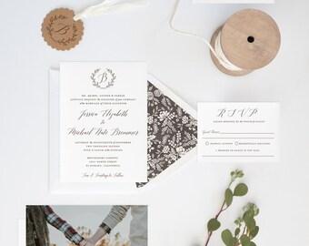 Wedding Invitation, Calligraphy Wedding Invitation, DIY Wedding Invitation, Printable Wedding Invitation, Wedding Invitation Download - #S18