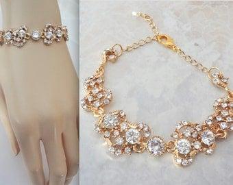 Gold crystal bracelet, Brides crystal bracelet, Gold wedding bracelet, Gold bracelet, Gold crystal wedding bracelet ~ BRI