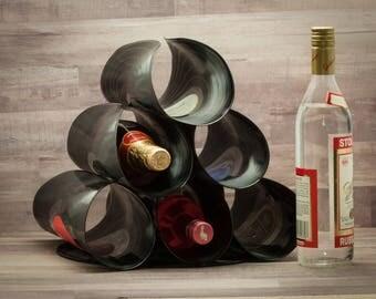 RECORDS Unique Wine Rack, handmade wine rack, upcycled kitchen modern wine rack, Music kitchen, Alternative to wood wine rack OR pallet rack