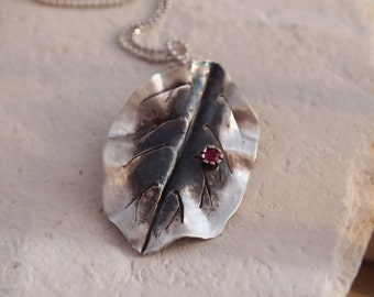 Artisan metalwork, Hammered Leaf, Pendant, Necklace, Recycled Sterling Silver,  Ready to Ship