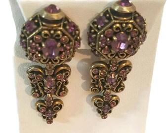 Long Dangle Earrings Hollycraft Earrings Purple Drop Earrings Rhinestone Earring Victorian Jewelry Wedding Jewelry 1950s Clip Earrings