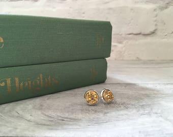 Gold druzy earrings, stud earrings, gold post earrings, bridesmaid jewelry, gifts for her, coworker gift, festival jewellery, etsy uk