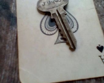 JUNQUE Handstamped/One of a Kind/Repurposed Key Necklace