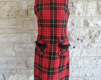 60's Plaid Dress Size 7 Tartan Dress Kenny's Classic Mod Red Plaid Wool Dress Casual Preppy Medium Fringe Vintage Dress