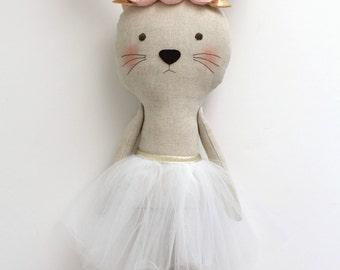 MADE TO ORDER - Pink & Gold bunny with a headband. Stuffed bunny animal. Ballerina birthday gift for girls. Nursery decor. Baby shower gift