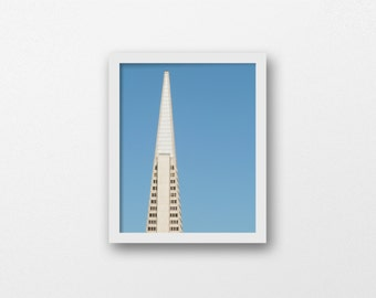 PYRAMID SCHEME | Transamerica photo print | blue and white | modern minimalist architecture print | San Francisco photo | office wall art