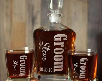 Scotch Whiskey Custom Engraved Glasses Decanter Set Best Man Groomsmen Gifts Liquor Decanter Decanter Only Decanter with 2 or 4 Glasses
