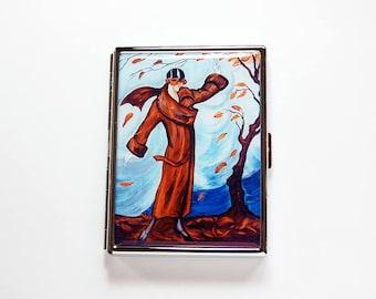 Retro Cigarette Case, Flapper Cigarette Case, Art Nouveau, Slim Cigarette Case, Cigarette Holder, Cigarette box, brown, blue (7680S)