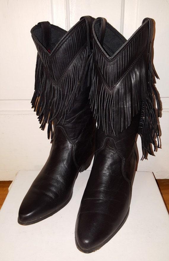fringe laredo boots vintage black leather s size