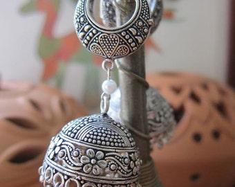 Pearl and Silver Long Jhumka