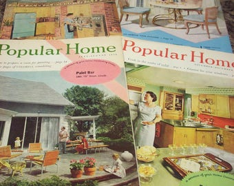 4 Mid-Century DECORATING MAGAZINES Popular Home Farm Kitchen Ideas Perfect Home Design Decor Ads Lincoln Nebraska