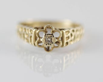 1970s 9ct Gold Diamond Daisy Flower Shape Ladies Ring    Size  UK N 1/2  US 7