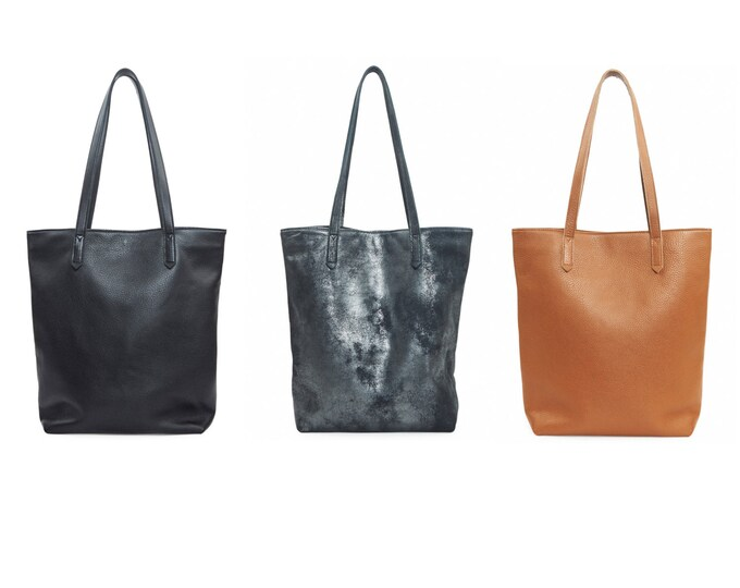 Large leather bag, women tote bag in black or brown or black graphite shimmer