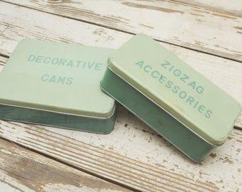 PAIR Hinged Tins Boxes Sewing