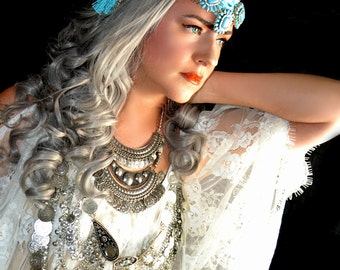 Mucha inspired Boho Gypsy medallion headchain headdress tiara headpiece fascinator hat fashion accessory