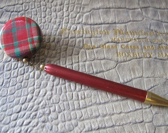Tartan Plaid Shopkeeper Retractable Pencil, Retro Classic Mid Century Wearable Pencil Pin. As Is. 1940's to 1950's Style Pencil Chain Pin