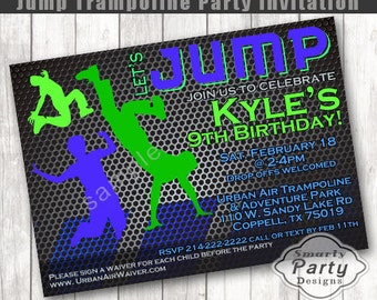 Jump Birthday Invitation | Bounce House Birthday Boy | Trampoline Party Invite | Printable Personalized 4 x 6 or 5 x 7