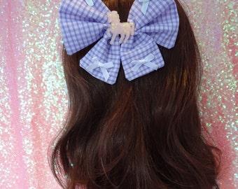 Magical Fairy Kei Unicorn Lilac Gingham Kawaii Twin Tail Bow