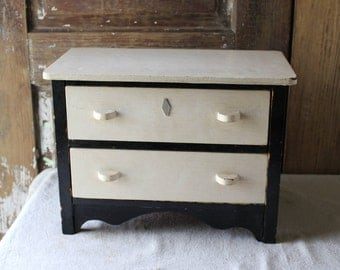 "Vintage Handmade Two Drawer Wood Toy Dresser, Black & White, 14"" Wide, 10"" Tall"