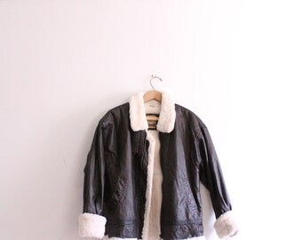 Classic Leather Furry Bomber Jacket