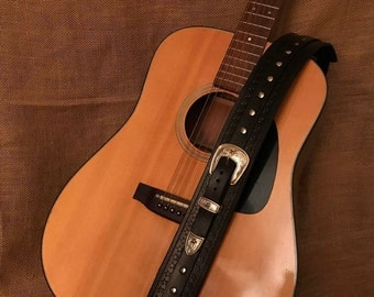 Beautiful Hand Made Leather Guitar Strap