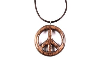 Peace Sign Necklace, Peace Sign Pendant, Wood Peace Sign Hippie Necklace, Peace Sign Jewelry, Hippie Pendant, Wood Necklace, Hippie Jewelry