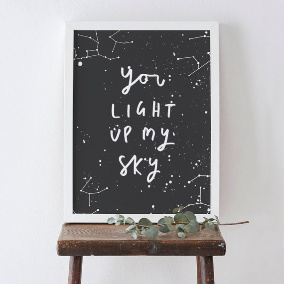 Light Up My Sky Constellation Print - Star Constellation Print - Typography Print