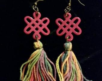 Tassel and ceramic dangle earrings