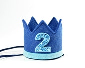 Second Birthday Party Hat || Second Birthday Crown || Blue Medium Crown || Boy Birthday Party || Add Any Number