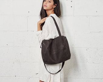 Leather Purse with Zipper, Leather Bag, Leather Handbag In Dark Brown, Over The Shoulder Leather Bag