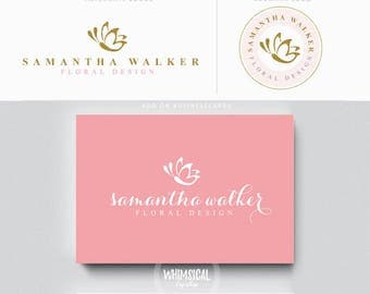 Butterfly logo -Premade Photography Logo and Watermark, Classic Elegant Script Font GOLD GLITTER butterfly children Calligraphy